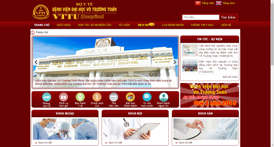 The official electronic site of Vo Truong Toan University Hospital has recently been launched